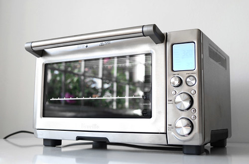 Closeup shot of the Breville stainless steel toaster oven