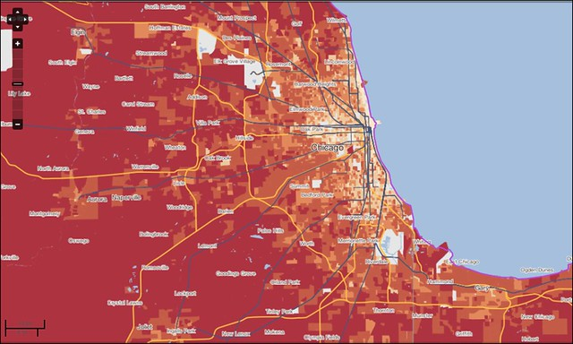 CO2 per household from driving, Chicago (courtesy of Center for Neighborhood Technology)