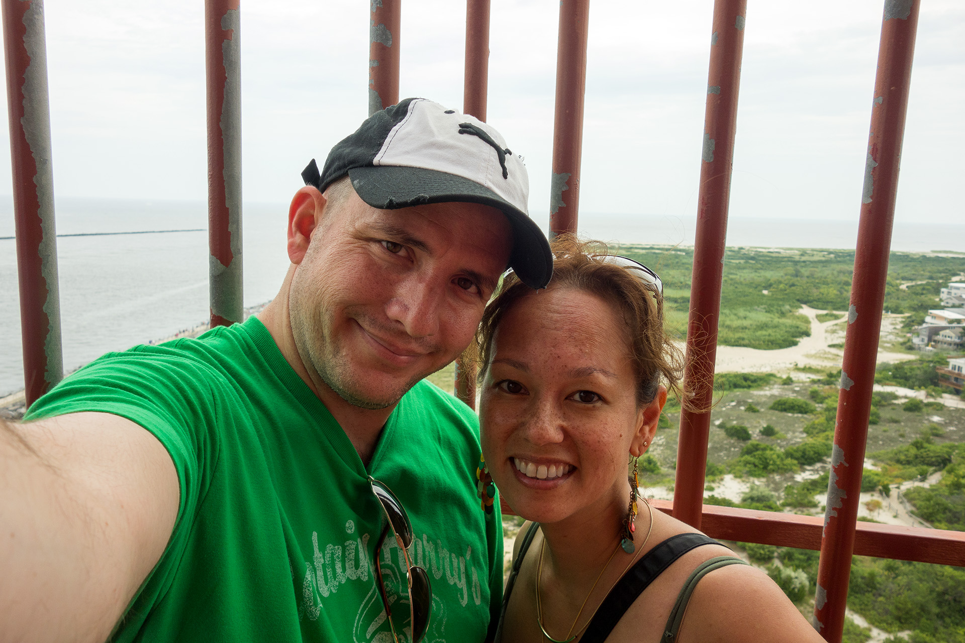 Selfie on top of the Barnegat Lighthouse.