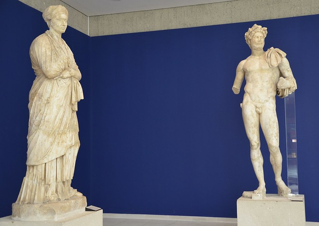 Statues of the Emperor Hadrian and his wife Vibia Sabina, from the Roman theatre at Vaison la Romaine,