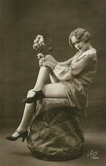 unknown Lady with Flowers ~ vintage Erotica