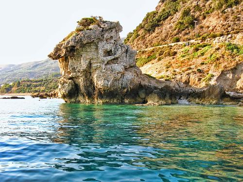 sea summer reflection water rock coast boat watercolors onboard