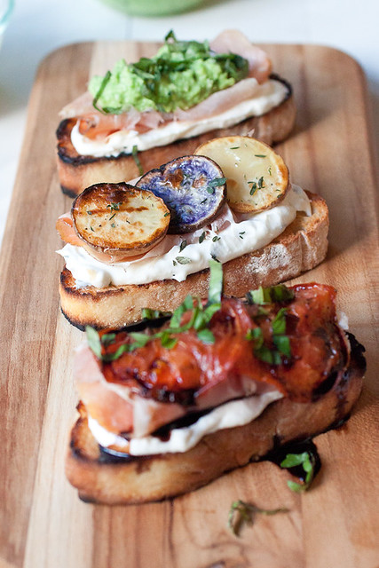 Grilled Crostini 3 Ways