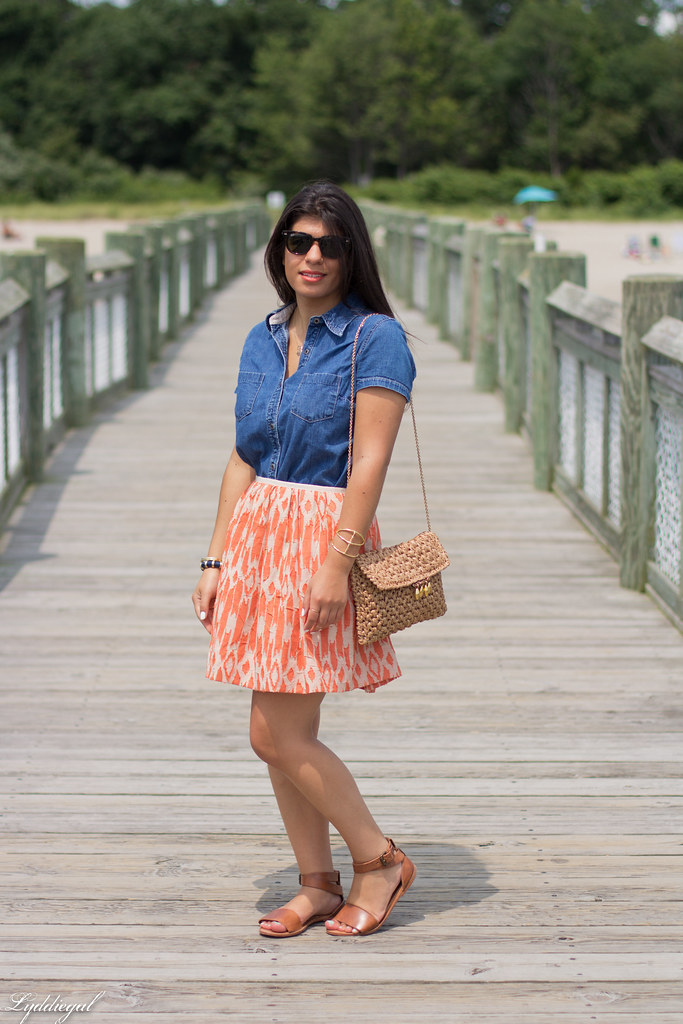 chambray shirt, orange ikat skirt-4.jpg
