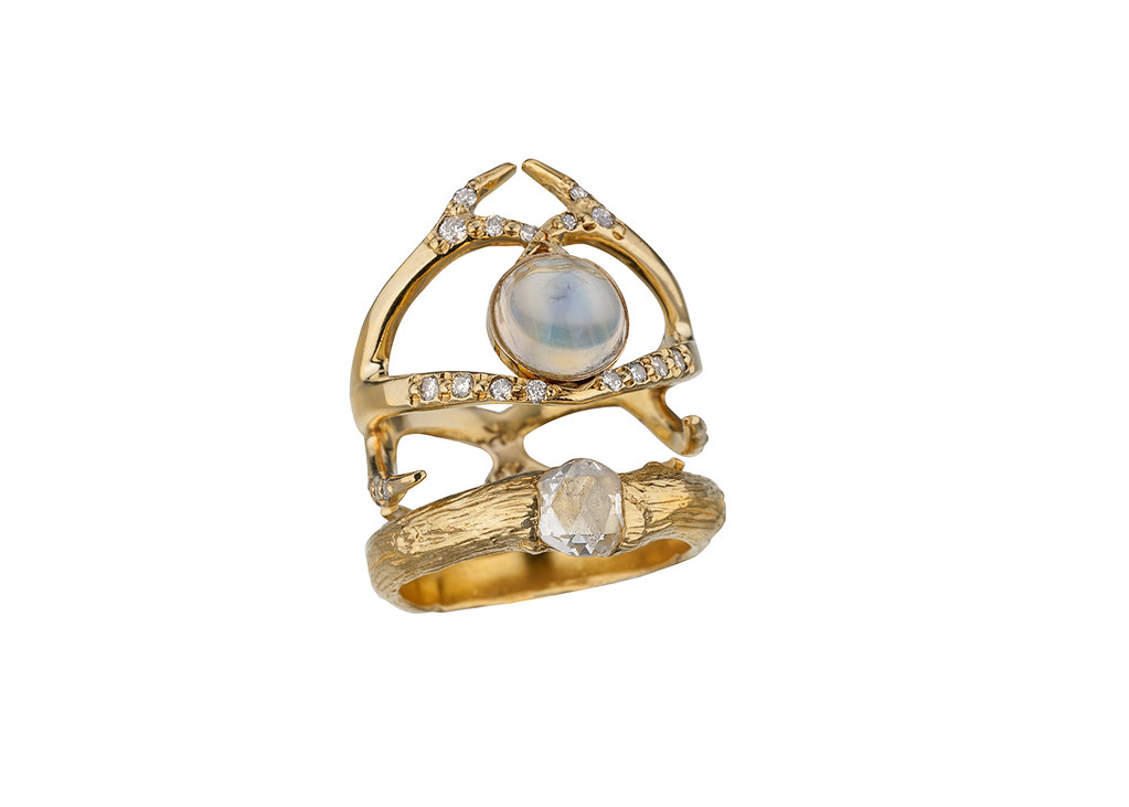 Moonstone and rose cut diamond rings