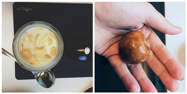 frühstück (@verivalbio crunchy müsli, marillen, apfelmus) & ich probiere es wieder: dieses mal einer in der erde, einer im wasserglas.