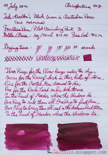 Noodler's Black Swan in Australian Roses on Clairefontaine