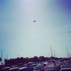 The Blue Angels are over head! Air & Water show practice has begun. #belmontharbor #chicago