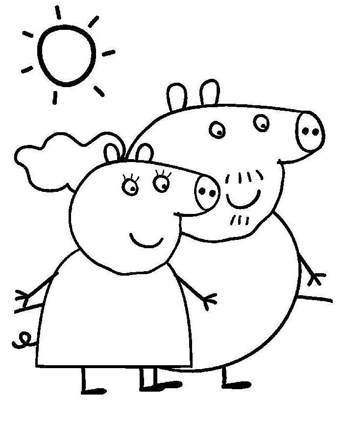 Раскраска свинка пеппа и папа свин