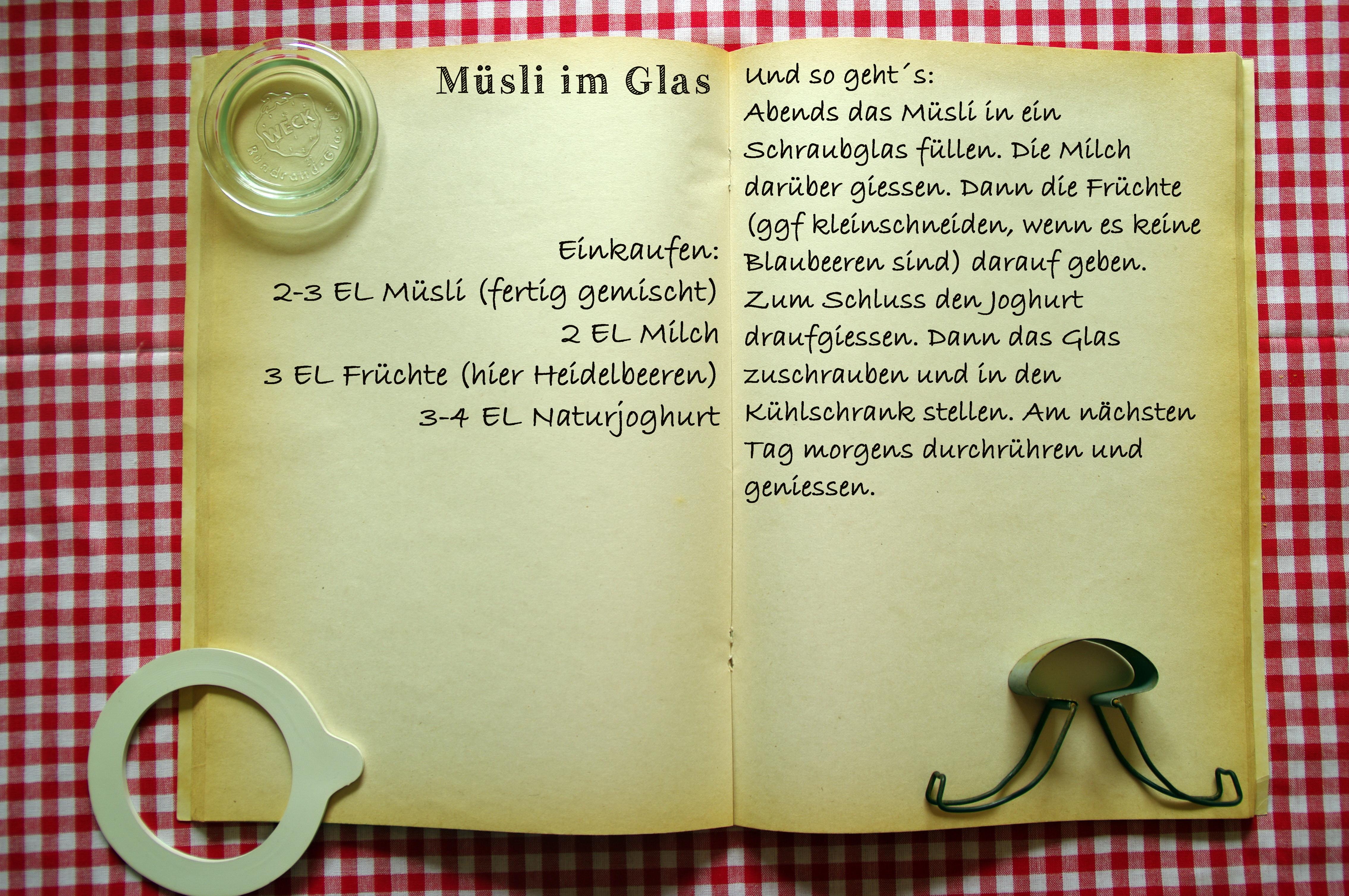Einkaufszettel Müsli im Glas