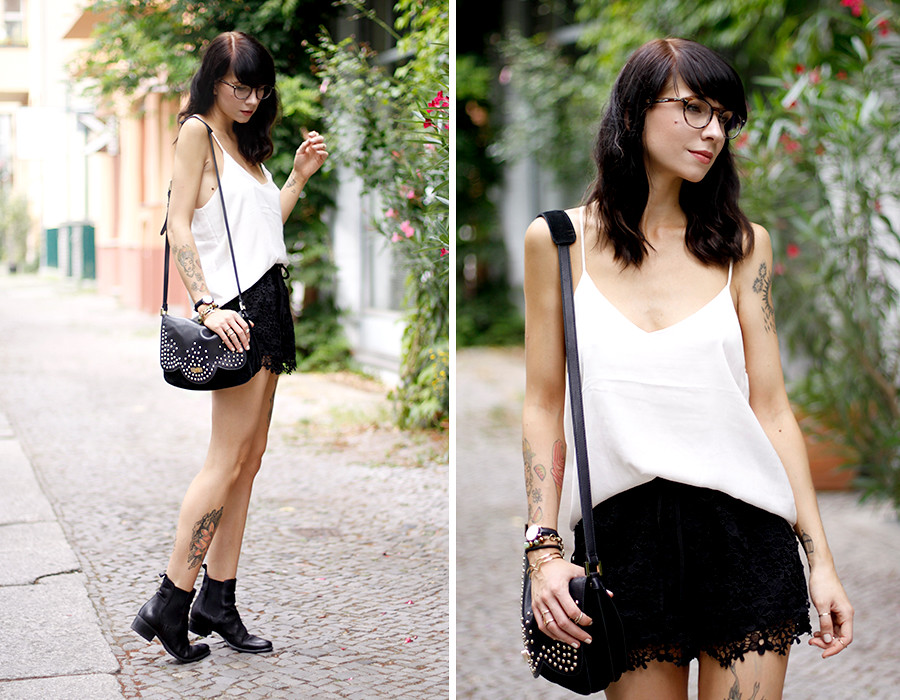 Sacha Chelsea Boots Mister Spex Ray-Ban Glasses Optical silk top H&M Chicwish lace shorts BettyxLancaster Betty x Lancaster Paris bag outfit OOTD styling fashion blogger Berlin Ricarda Schernus 6