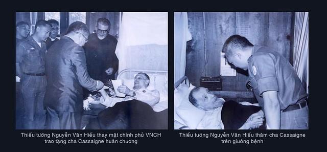 Thiếu tướng Nguyễn Văn Hiếu thay mặt chính phủ VNCH trao tặng cha Cassaigne huân chương