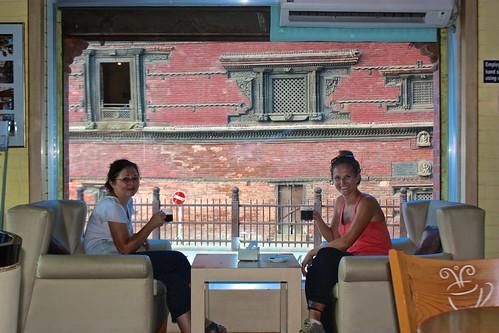 Lina and Olga enjoying real espresso drinks most likely at Himalayan Java