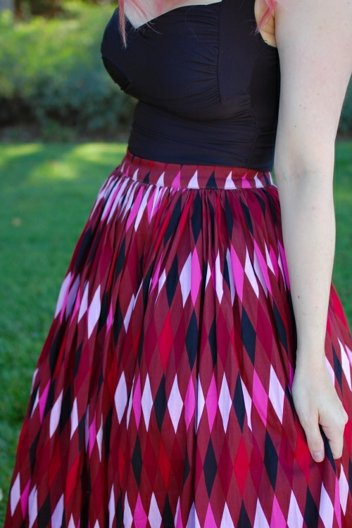 Pinup Girl Clothing Red and Brown Harlequin Jenny Skirt 017