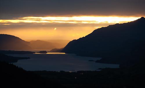 sunset mountains see scotland sonnenuntergang d70 unitedkingdom glen berge loch maree docherty kinlochewe