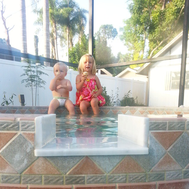 #icecream in the Jacuzzi before bedtime.