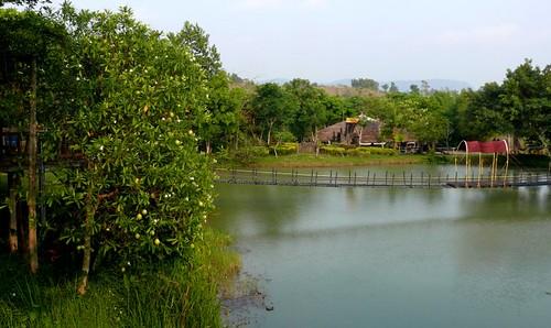 גשר מעל מים ירקרקים. וואנג נאם קייאו