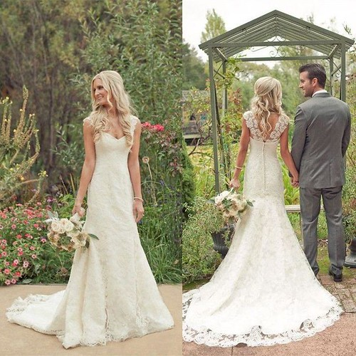 Lace Wedding Dresses Cap Sleeve White Ivory Bridal Gown With Long Train