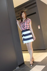 Check ruffle blouse and Marine miniskirt_1