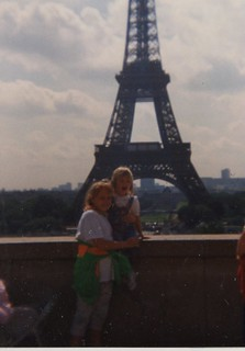 Carissa-3 years; Brittny-10 years at the Eiffel Tower in Paris - Copy