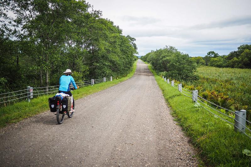 Gravel road crossing the Kurshiro Shitsugen (wetlands) national park (Hokkaido, Japan)