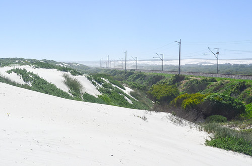 Sishen-Saldanha iron ore railway and the white sand dunes of Elands Bay