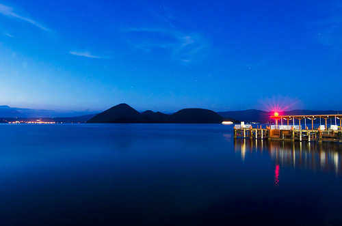 sunset lake reflection water japan night stars landscape dock hokkaido waterscape laketoya
