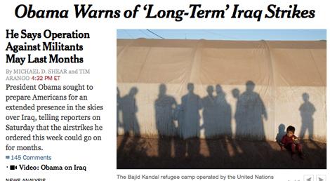14h08 Obama anuncia que la nueva campaña de Irak será larga