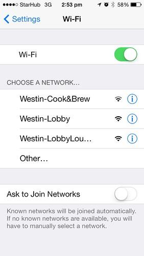 Wifi at Westin Singapore