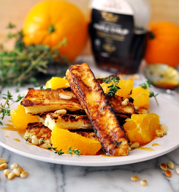 French Toast Sticks and Pinenuts with Orange, Thyme & Maple Syrup | www.fussfeecooking.com