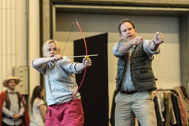 Sofia Fomina as Jemmy and Gerald Finley as Guillaume Tell in rehearsal for Guillaume Tell, The Royal Opera © 2015 ROH. Photograph by Clive Barda