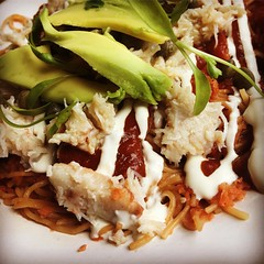 Smoky tomato fideus East coast Mexican angel hair noodles in a chipotle tomato sauce, with sliced fresh avocado, capers & crumbled Lancashire cheese, topped with a touch of hand picked white Devon crab meat. #wahaca