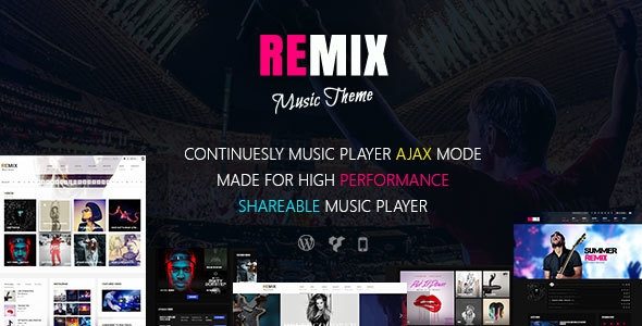 Remix v3.6.2 – Music and Musician Ajax WP Theme