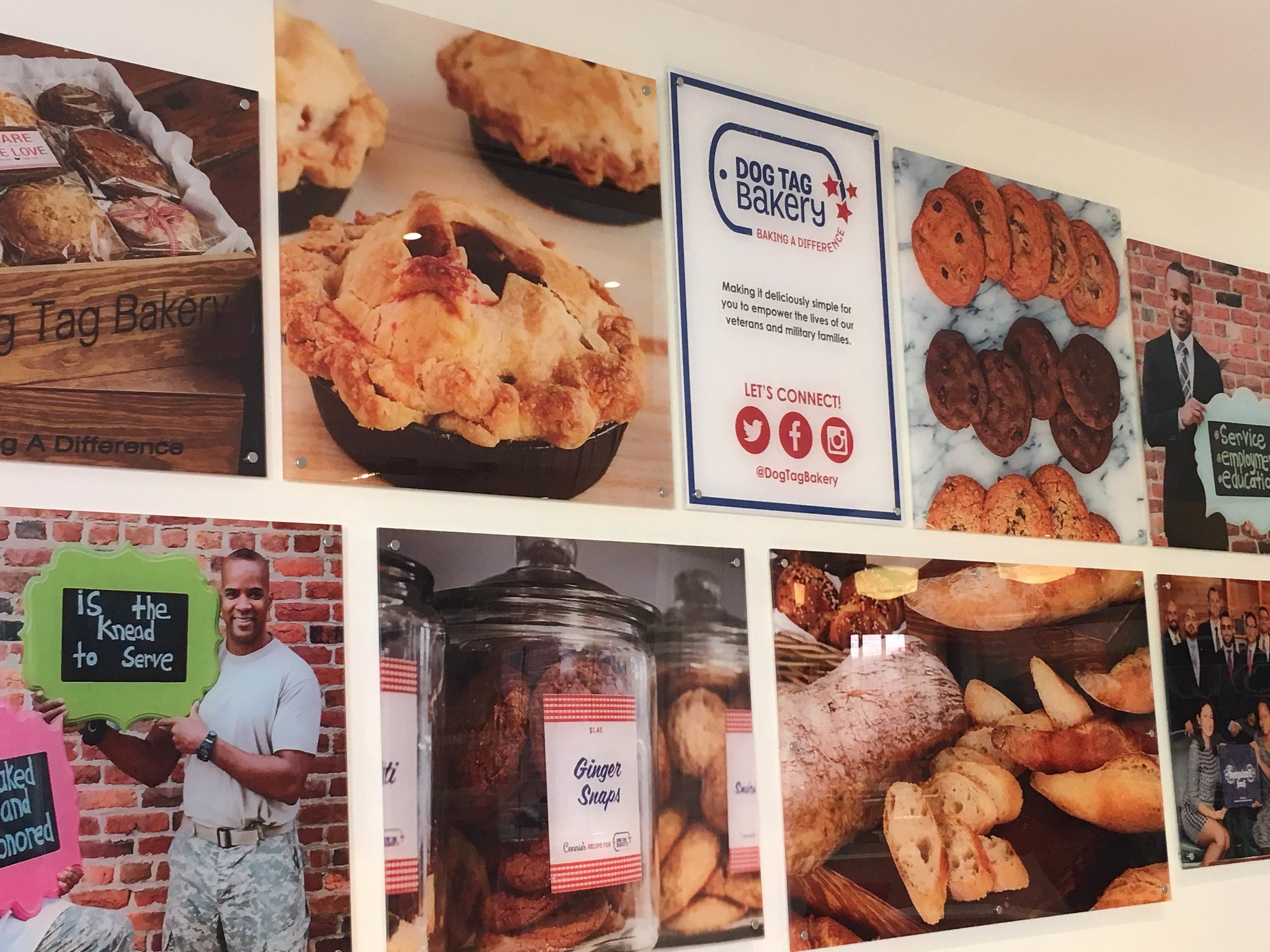 A photo display featuring images of baked goods and people holding chalkboards with messages related to the organization's mission.