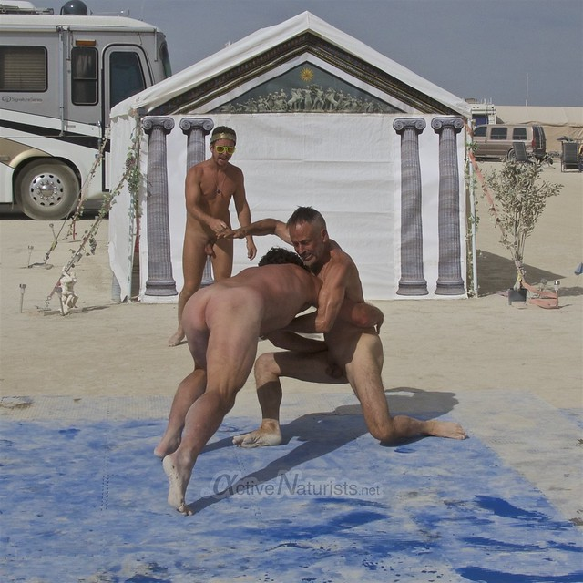 naturist wrestling camp Gymnasium 0038 Burning Man, Black Rock City, NV, USA