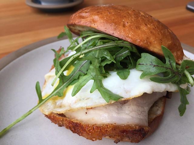 Fried Egg Sandwich, porcheta, salsa verde