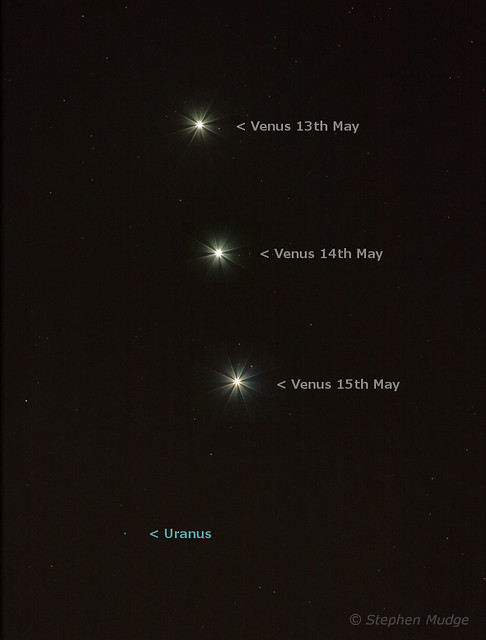 Venus closing in on Uranus