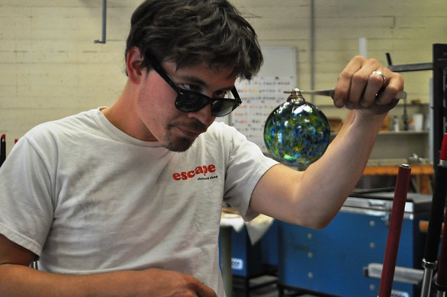 Artist Seth Hendrick Looks Over the Final Product at Sunspots Studios, Staunton, Va., April 2014