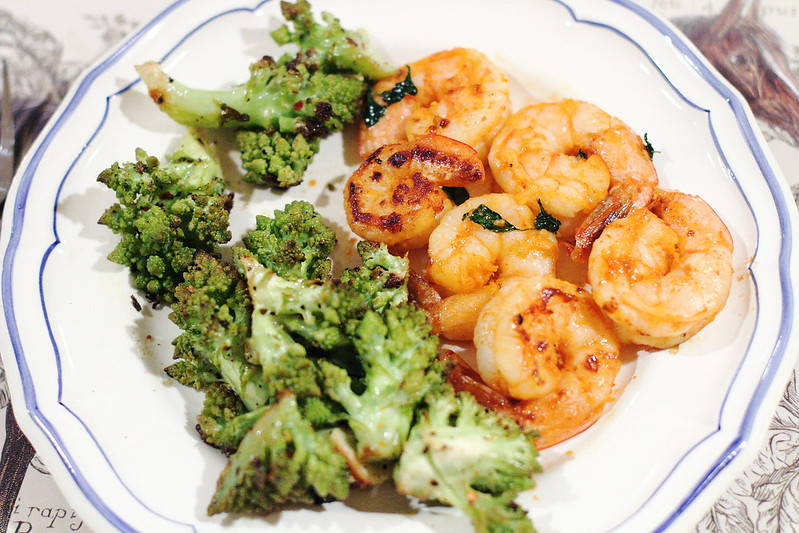 Sunday Dinner: Spicy Shrimp and Roasted Romanesco