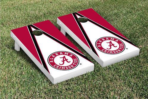 Alabama Crimson Tide Cornhole Game Set Triangle V1
