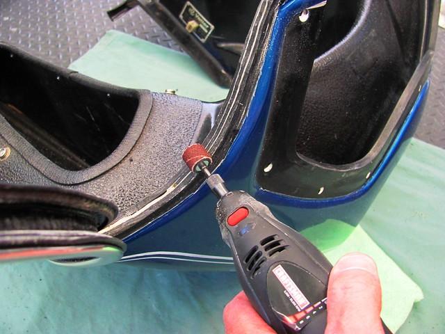 Adjusting Fairing Edge wiht Dremel Tool to Align Chrome Trim