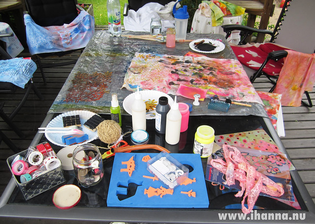 Fabric painting station in the Garden