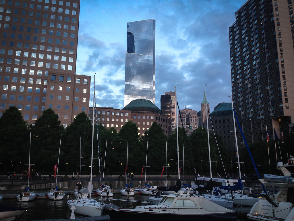 4 World Trade Center Above North Cove Yacht Harbor at Magic Hour - New York City