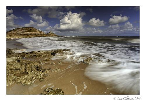 uk sea sky lighthouse beach water swansea wales clouds canon rocks waves swirls mumbles 2014 stevechatman