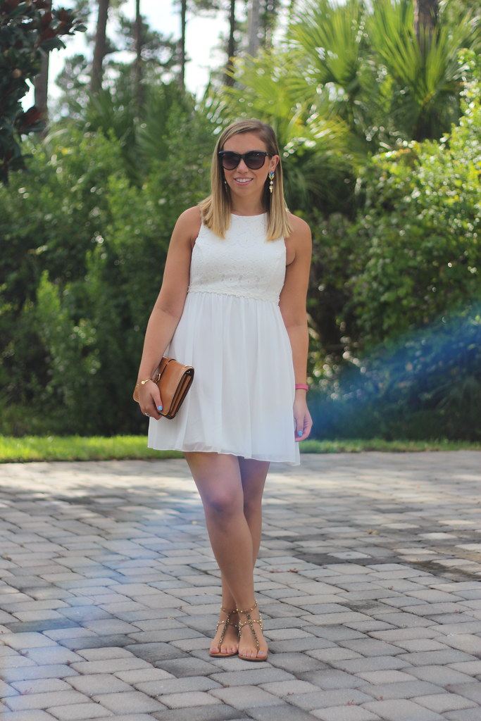 White Dress | Studded Brown Sandals | Outfit | #LivingAfterMidnite
