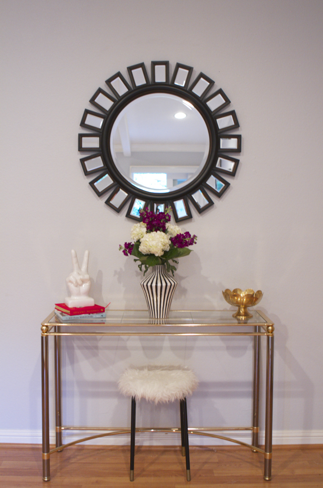 brass console table for entryway