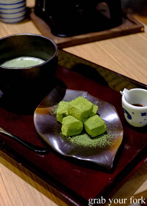 Matcha and warabi mochi dessert with Uji green tea at Yayoi, Sydney