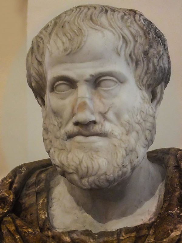 Bust of the Greek Philosopher Aristotle Roman copy of Greek original by Lysippus at the Palazzo Altemps in Rome, Italy