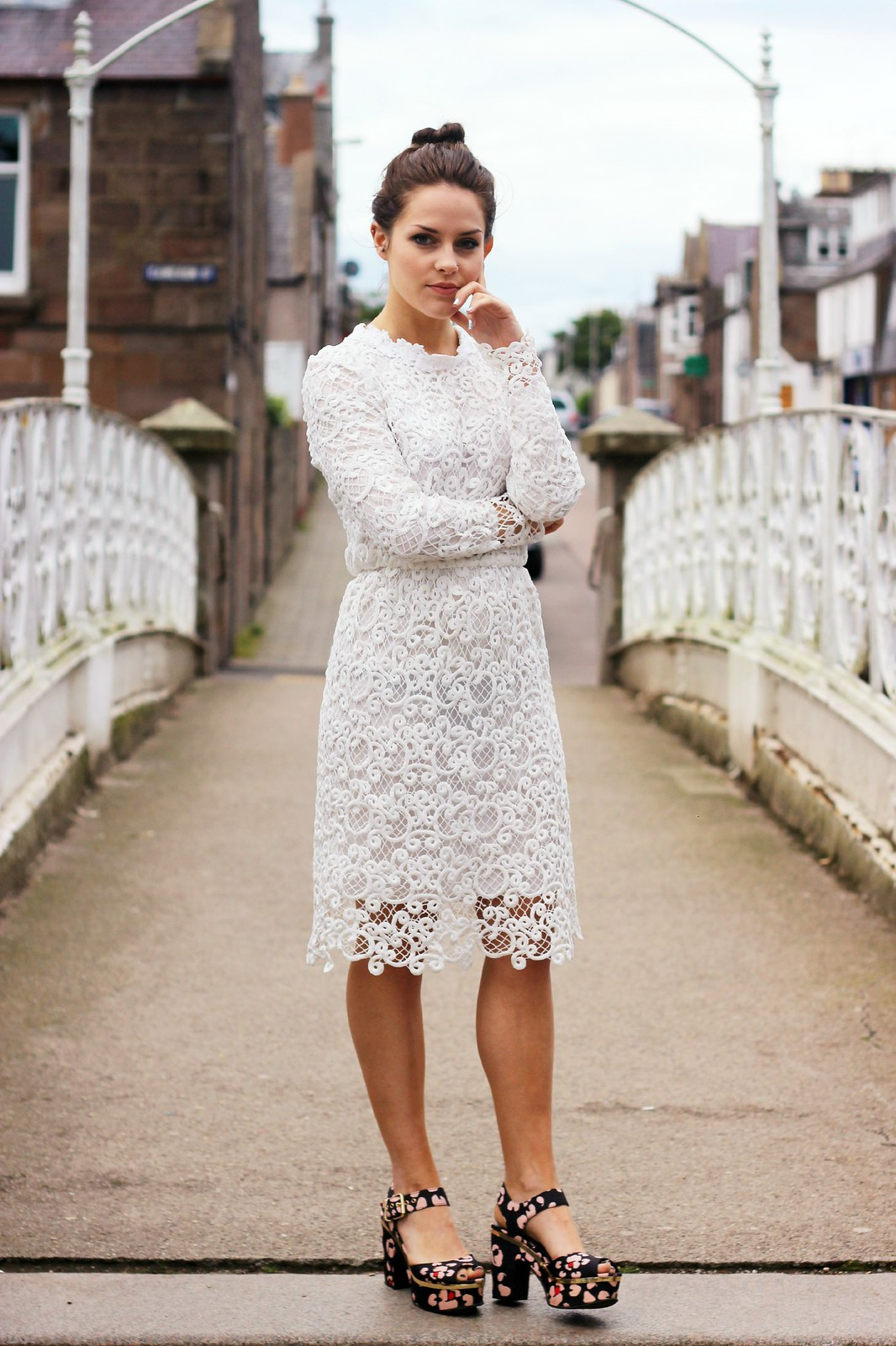 Dahlia white lace corinne dress 1