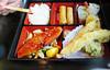 Salmon Teriyaki Dinner Box  -  Shrimp tempura, spring roll, white rice